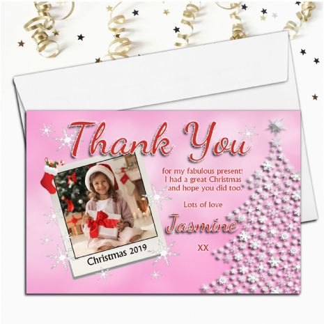 10 Personalised Pink Glitz Christmas Xmas Thank you PHOTO Cards N11